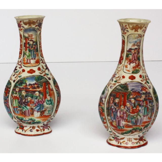 Ceramic Two Pairs, 18th Century Mandarin Pallet Chinese Export Vases For Sale - Image 7 of 10
