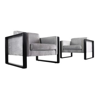 1960s Cube Club Chairs Attributed to Walter Knoll - Set of 2 For Sale