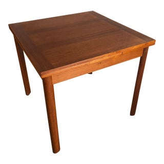Vintage Mid Century Danish Modern Teak Refractory Square Dining Table For Sale