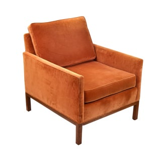 Vintage Mid-Century Modern Orange Velvet Club Armchair For Sale