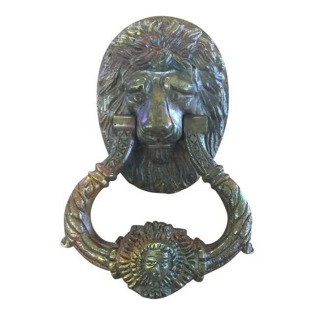 Antique Brass Lion Door Knocker For Sale