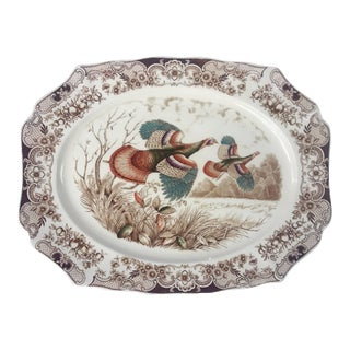 English Transferware Large Platter, Flying Turkeys by Johnson Brothers For Sale