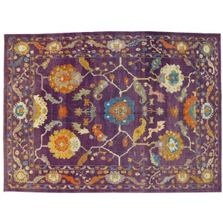 Purple Contemporary Turkish Oushak Rug - 10'2 X 13'10 For Sale