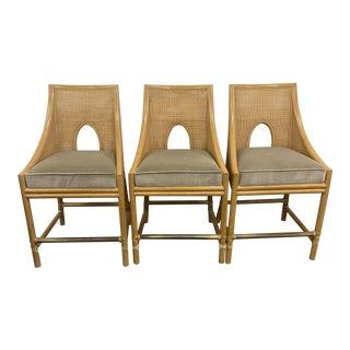 Mid-Century Barbara Barry for McGuire Caned Barstools- Set of 3 For Sale