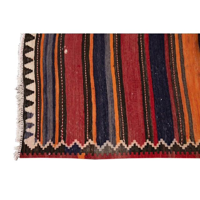 "Tan Mid-20th Century Vintage Kilim Runner Rug 5' 2"" X 10' 10''. For Sale - Image 8 of 13"