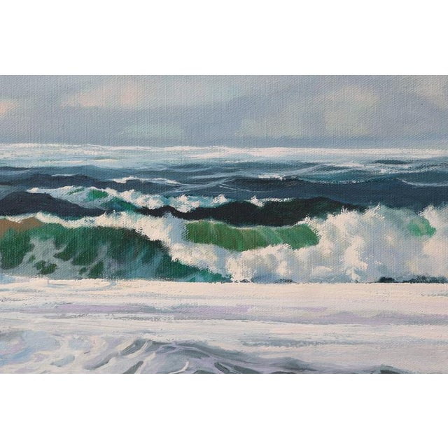"Oil on Canvas, ""Shore Line at High Tide"" Large Scale Painting by Robert P. Wheeler For Sale In West Palm - Image 6 of 11"