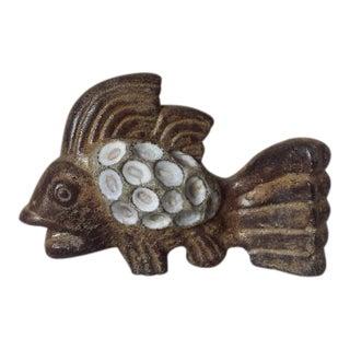 1960s Vintage Modernist Studio Art Pottery Stoneware Fish Sculpture For Sale