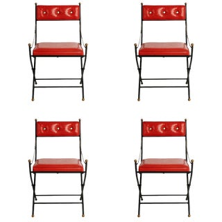 Campaign Folding Chairs in the Style of Maison Jansen, Set of Four, Circa 1960 For Sale
