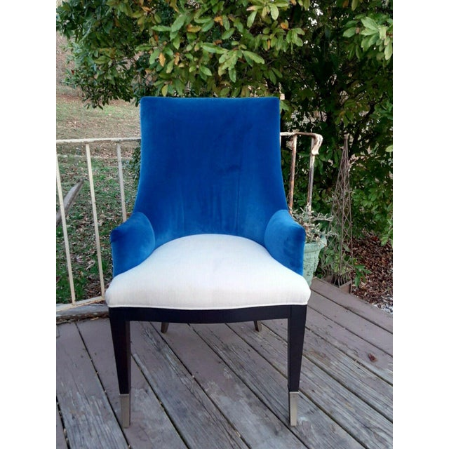"""Caracole """"You'Re Invited"""" Blue and White Upholstered Side Chair For Sale - Image 13 of 13"""