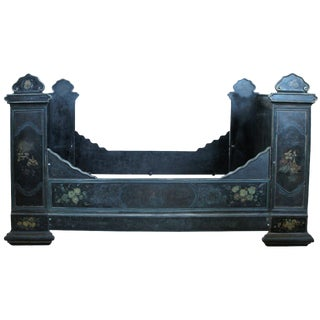 Antique Victorian Hand-Painted Cast Iron Bed For Sale