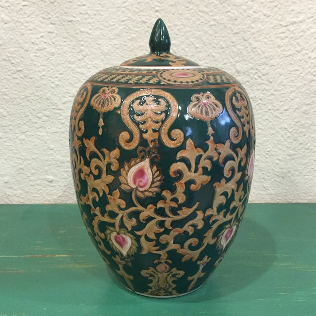 Vintage Chinese Green and Gold Vase With Lid - Image 2 of 5