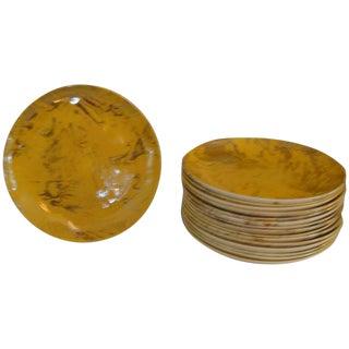 Sascha Brastoff Marbleized Ceramic Plates For Sale