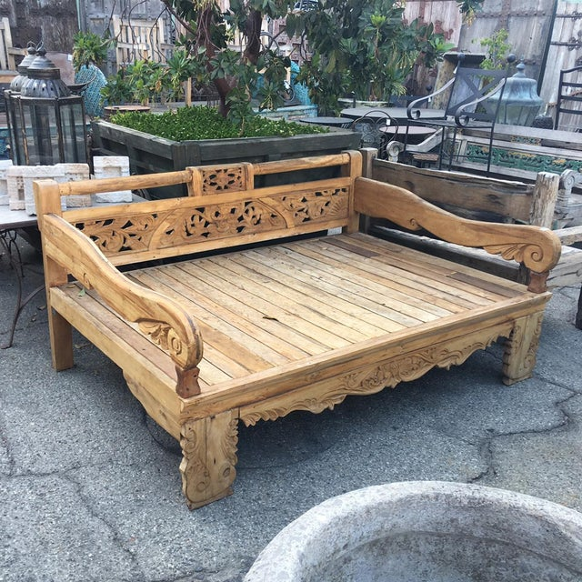 Boho teak carved wood daybed chairish for Bohemian style daybed