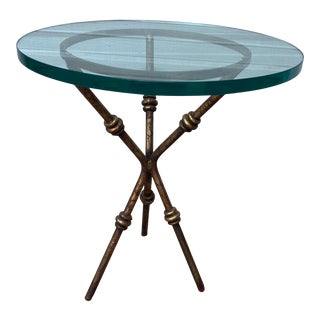 Faux Bamboo Metal Side Table For Sale