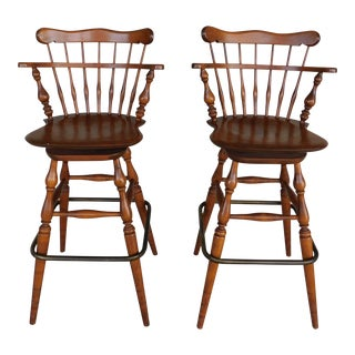 Ethan Allen Heirloom Swivel Stools - a Pair 10-6095 Nutmeg Finish For Sale