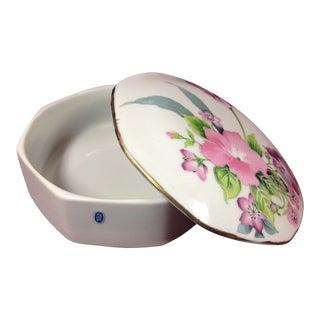 Floral Vintage Porcelain Octagonal Trinket Jewelry Box For Sale