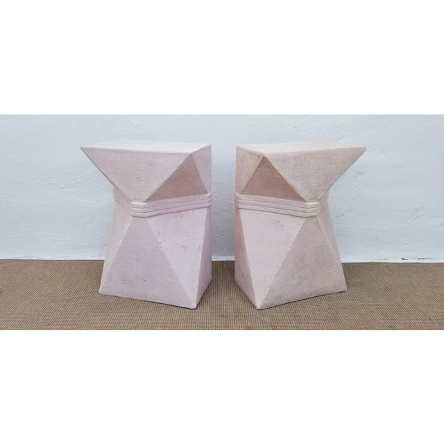 For sale is this fantastic architectural geometric design pedestals. Sold as a pair. Can also be used as a console or...