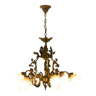 Art Deco Brushed Gold Chandelier For Sale