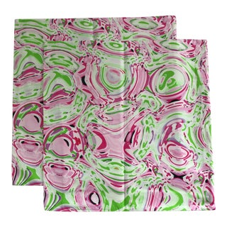Pink & Green Pillow Covers - A Pair