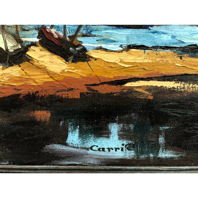 MCM oil on canvas landscape painting of two sailboats along a shoreline with mountains in the distance. Signed near the...