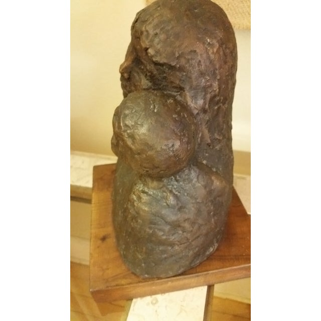 1968 Signed Bronze Mother & Child Sculpture For Sale - Image 4 of 8