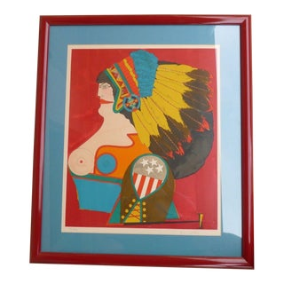 "Portfolio After Noon ""Miss American Indian"" Lithograph Print by Richard Lindner"