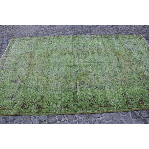 Vintage Handwoven Turkish Green Oushak Carpet - 5′4″ × 9′2″ - Image 3 of 6