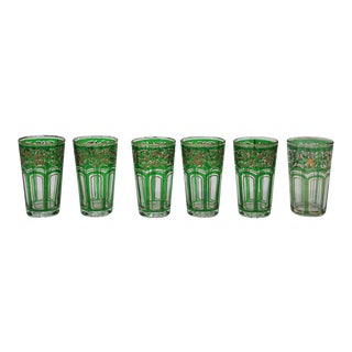 Green Glasses with Gold Raised Moorish Design -Set of 6 For Sale