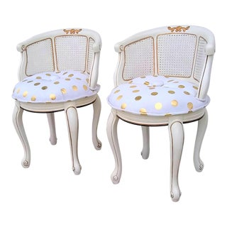 Vintage Petite Polka Dot Cane Back Parlor Chairs- Pair