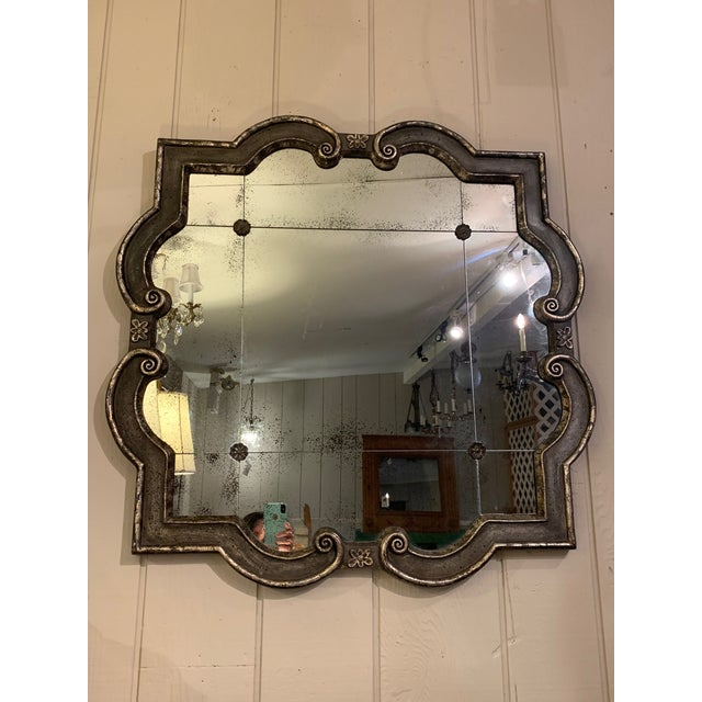 Black and Silvered Ghosted Aged Mirrors -A Pair For Sale - Image 10 of 10