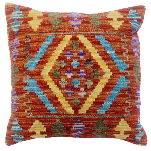 "Chau Rust/Gold Hand-Woven Kilim Throw Pillow(18""x18"") For Sale"