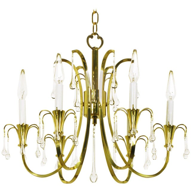 Gold Modernist Brass Chandelier With Raindrop Crystals For Sale - Image 8 of 8