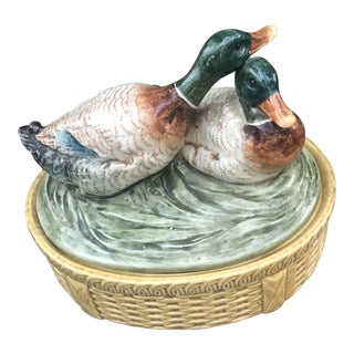 Vintage Czech Mallard Duck Casserole Covered Dish For Sale