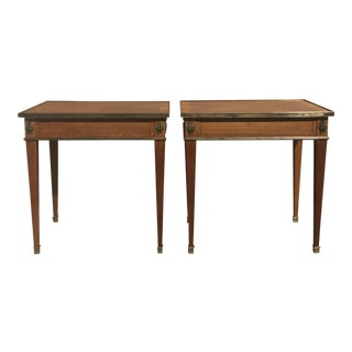 One Drawer Satinwood French Side Tables - A Pair