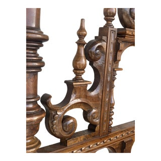 19th Century Baroque Style King Size Headboard in Carved Walnut For Sale