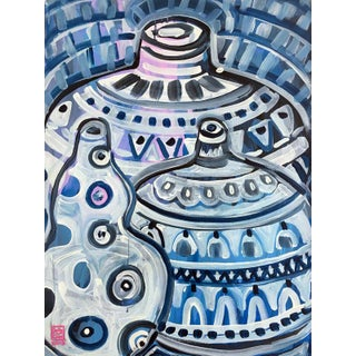 Three Blue Vases Contemporary Painting For Sale