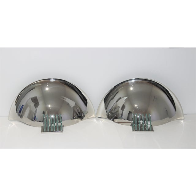 Vintage Art Deco Revival Karl Springer Style Sconces Nickel - a Pair For Sale - Image 9 of 12