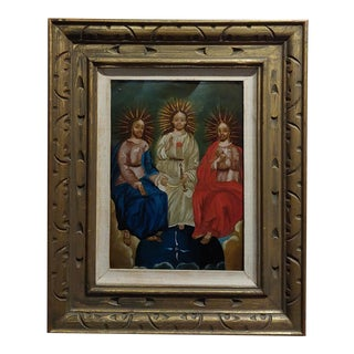 "19th Century Spanish Colonial Icon ""The Holy Trinity"" Oil Painting For Sale"