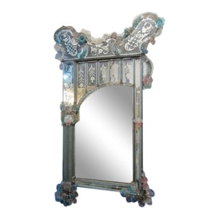 Venetian Etched Glass Mirror For Sale