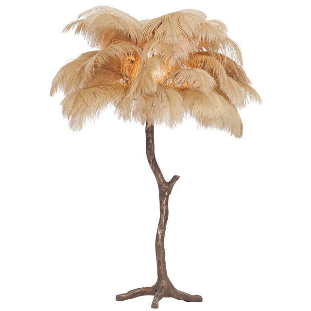 Bronze Bronze Tree Feather Lamp For Sale - Image 7 of 7