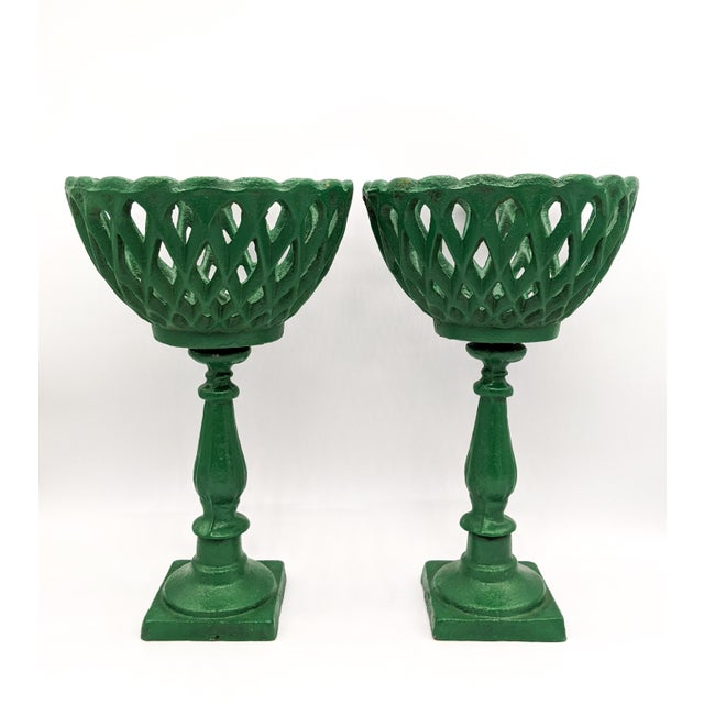 Large 20th Century Green Cast Iron Compotes - a Pair For Sale - Image 10 of 10