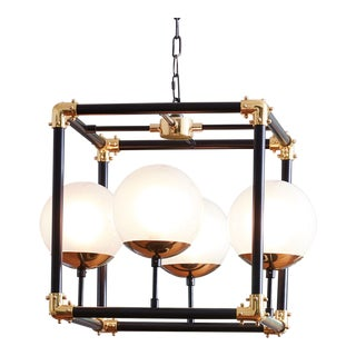 Global Views Modern Globes in a Square Pendant Light For Sale