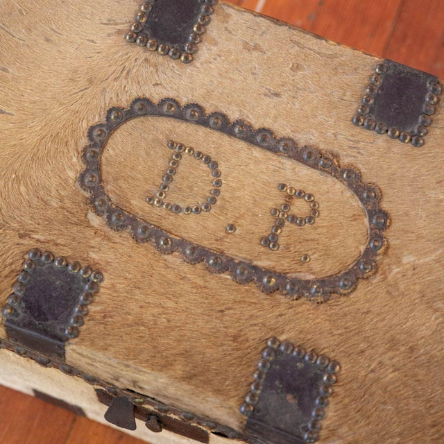 Mid-Century Modern Antique Cowhide Trunk with Initials DP For Sale - Image 3 of 9
