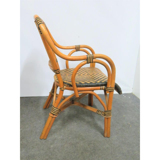 Mid Century Rattan Basket Weave Arm Chairs- Set or 4 For Sale - Image 4 of 7