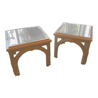 Vintage Lacquered White End Tables - a Pair For Sale