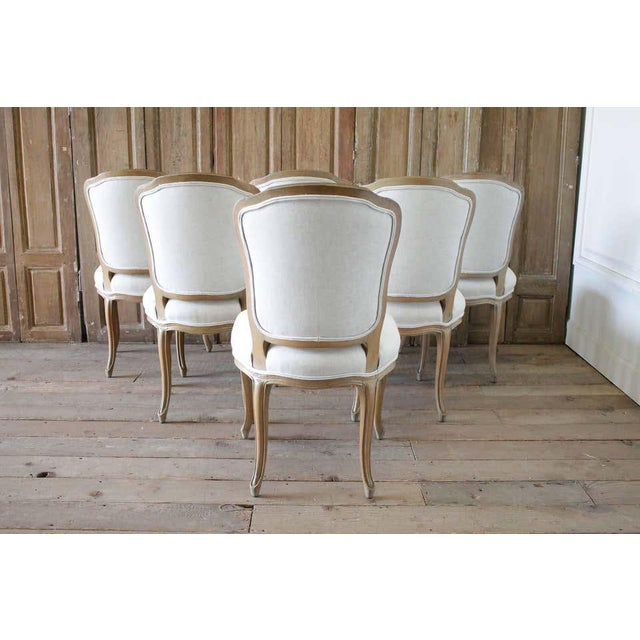 Set of Six Wood Louis XV Style Dining Chairs in Natural Belgian Linen For Sale In Los Angeles - Image 6 of 11