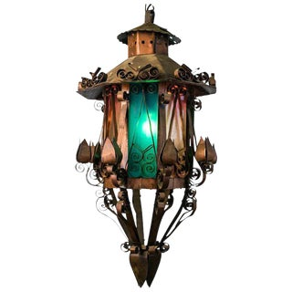 Mid Century Spanish Revival Copper Lantern with Green & Rose Colored Glass For Sale