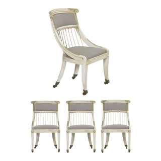 Set of Four Gustavian Style White Painted Gray Upholstered Dining Chairs For Sale