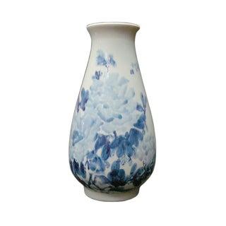 Porcelain Blue & White Flower Decor Vase For Sale