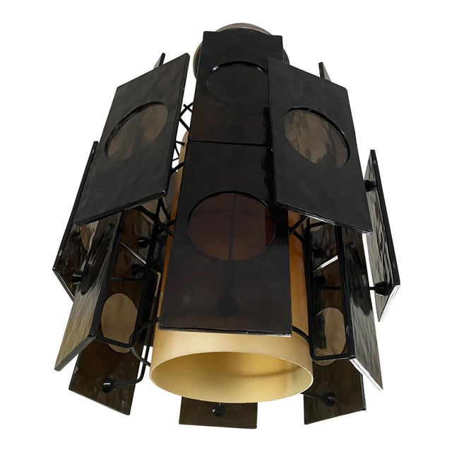 1960s Mid-Century Lucite Panel Smoke Hanging Lamp Chandelier For Sale In Philadelphia - Image 6 of 6